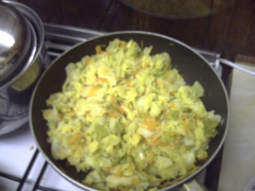 Finished pan of cabbage
