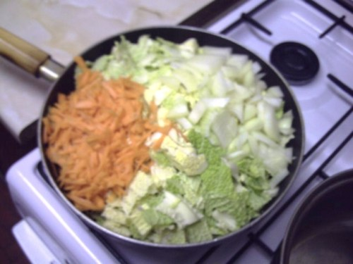 A pan full to the brim with cabbage, onion, and carrot