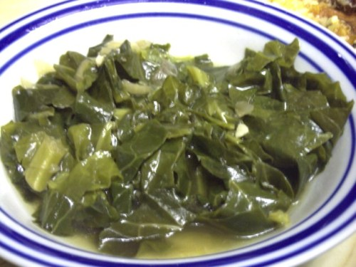 A bowl of cooked collard greens