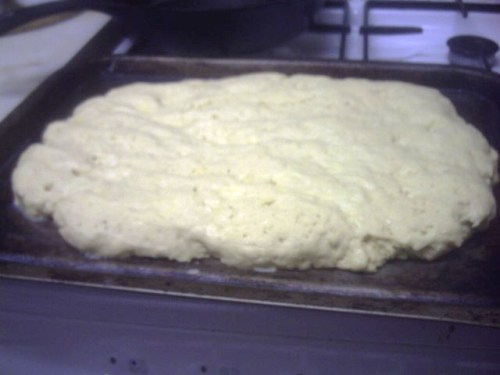Oblong of bread dough ready for the oven