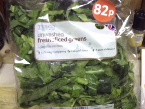 A plastic bag of sliced greens