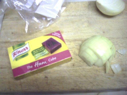 A box of Knorr ham cubes and half a chopped onion