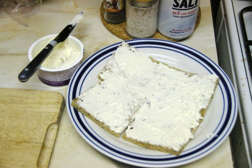 The layer of bread, spread with cream cheese