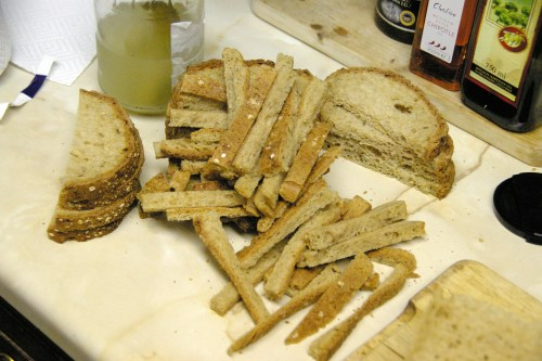 Crusts and scraps of bread