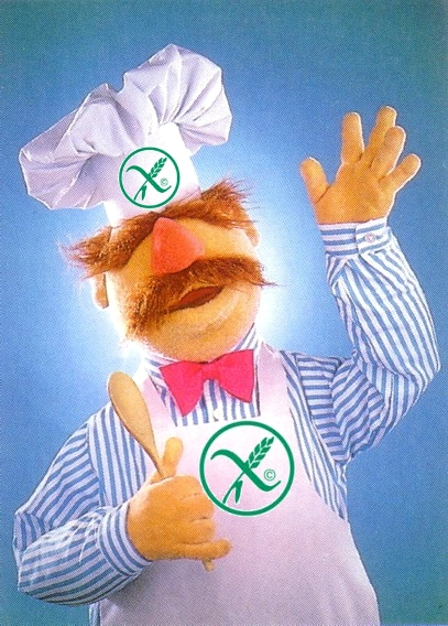 The Muppets' Swedish Chef with gluten free symbols on his apron and hat